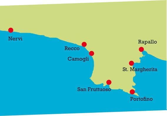 Camogli und Umgebung. Karte.
