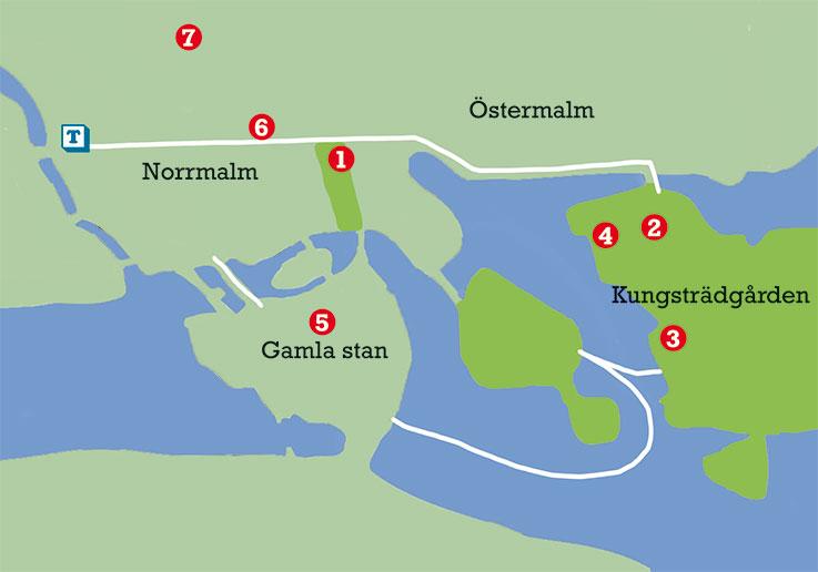 Mappa del centro di Stoccolma