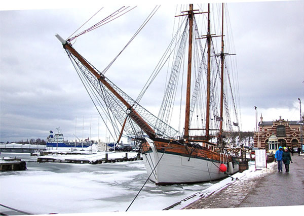 ship moored in port
