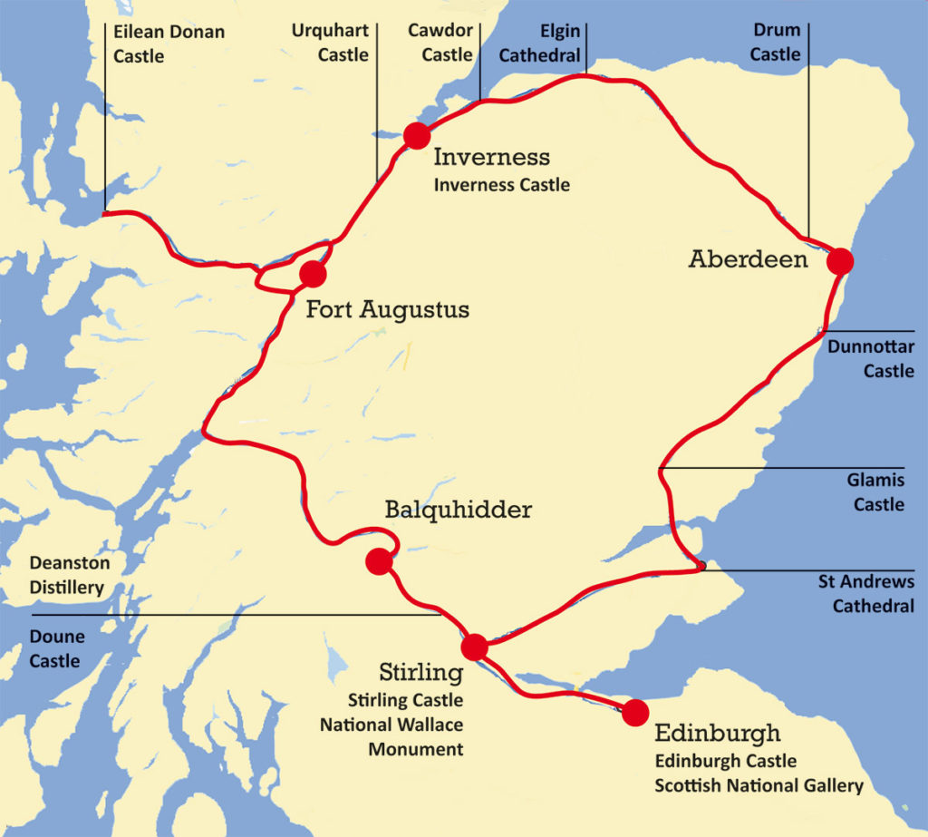 7 days road trip of Scotland by car – Map